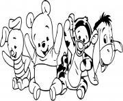 porcinet winnie tigrou bourriquet bebe kawaii mignon dessin à colorier