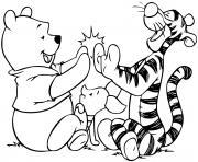 tigre fou Tigger Too joue avec Winnie dessin à colorier