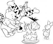 anniversaire de porcinet qui celebre avec winnie tigrou bourriquet dessin à colorier