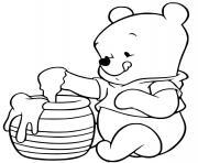winnie ourson adore le miel trouve dans une ruche dessin à colorier