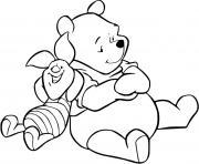 winnie et porcinet se repose apres une longue activite de sport dessin à colorier