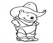 winnie lourson en mode cowboy et attend son cheval dessin à colorier