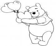 winnie the pooh avec des ballons en forme de coeur saint valentin dessin à colorier