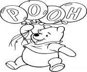 anniversaire de winnie lourson avec des ballons pooh dessin à colorier