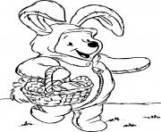 winnie lourson costume en lapin pour paques ramasse les oeufs de paques dessin à colorier