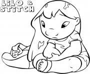 lilo sennuie de stitch dessin à colorier