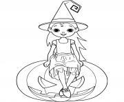 petite sorciere sur une citrouille dessin à colorier