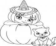 magnifique sorciere et son chat avec une citrouille dessin à colorier