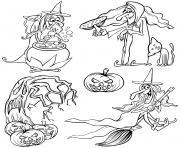 halloween cartoon sorcieres dessin à colorier