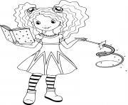 sorciere avec son livre magique dessin à colorier