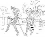 momie zombie halloween dessin à colorier