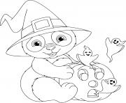 panda citrouille fantome dessin à colorier