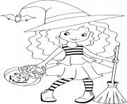 sorciere halloween avec des friandises dessin à colorier