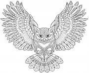 zentangle aigle hibou halloween adulte dessin à colorier