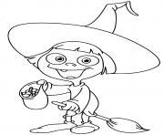 enfant sorcier avec des bonbons dessin à colorier