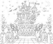 maison hantee chateau hallowen adulte dessin à colorier