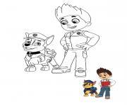 Ryder et Chase discutent dessin à colorier