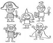 deguisements et costumes de halloween pour enfants dessin à colorier