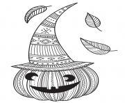 citrouille avec chapeau de sorciere et feuilles d automne dessin à colorier