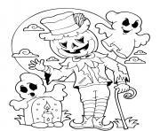 halloween epouvantail citrouille lune et cimetiere dessin à colorier