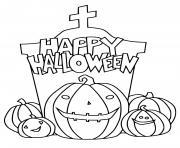 joyeuse halloween citrouilles 2021 dessin à colorier