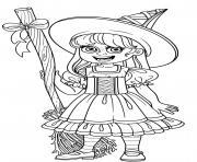 sorciere qui aime la magie dessin à colorier