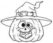chapeau et citrouille amusante pour Halloween dessin à colorier