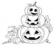 trois citrouilles emotions diverses halloween dessin à colorier