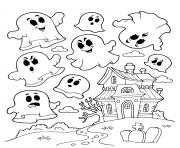 maison hantee avec des fantomes dessin à colorier