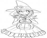 mignonne princesse sorcière avec un citrouille en automne dessin à colorier