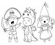 costume halloween pour enfants pirates dinosaure princesse dessin à colorier