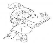 sorciere qui raconte une histoire terrifiante a son hibou dessin à colorier