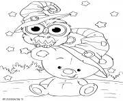 petit nounours pour halloween avec un hibou dessin à colorier