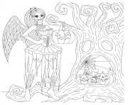fee gothique halloween citrouilles arboricoles effrayantes dessin à colorier