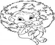 bebe simba se berce couronne de noel dessin à colorier