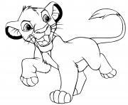 Simba grandit dans la jungle et devient un jeune lion dessin à colorier