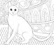 chat pour adulte antistress dessin à colorier