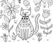 etre zen comme ce chat dans la nature dessin à colorier