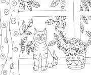 un chaton pres de la fenetre dans sa maison dessin à colorier