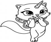 chat licorne volant dessin à colorier