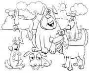 un monde de chiens dans la nature dessin à colorier
