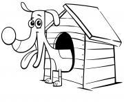 teckel sort de sa maison dessin à colorier
