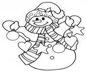 joyeux bonhomme de neige avec des decorations de noel dessin à colorier