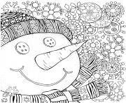 bonhomme de neige pour adulte mandala zentangle dessin à colorier