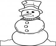 bonhomme de neige sans bras dessin à colorier