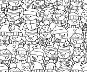 une photo de groupe de bonhommes de neiges dessin à colorier