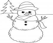 adorable bonhomme de neige dessin à colorier