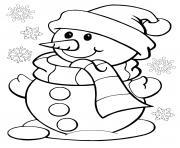 bonhomme de neige avec des flocons dessin à colorier