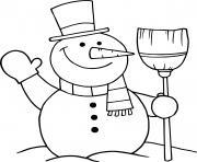 bonhomme de neige qui fait un coucou dessin à colorier