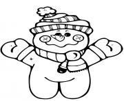 petit bonhomme de neige debout sur deux pattes avec foulard et tuque dessin à colorier